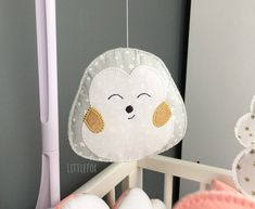 Mobile elements for decorating the baby's room. Matched to the forest animals bed turn. Sold without support. To tie yourself to the mobile. A grey cotton fabric hedgehog with white and white stars Number to choose from in options Padded with polyester ou Owl Fabric, Cotton Fabric, Nursery Room, Baby Room, Rabbit Head, Golden Star, Woodland Party, Forest Animals, Pet Beds