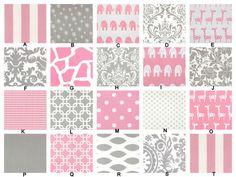 YOU DESIGN Custom 3 piece Crib Bedding Set - Bumper, Skirt and Sheet Pink and Gray. via Etsy.