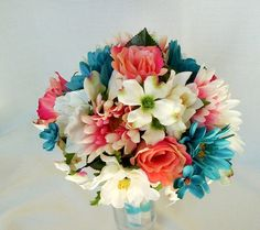 Teal, coral and white flowers…for Kim's bouquet..