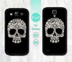 Samsung Galaxy S4 case, Galaxy S3 case - Mini Floral Skull - Galaxy S4 cover, Galaxy S3 cover, (Hard or Rubber case to choose from)