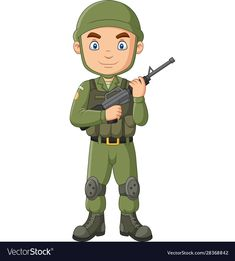 Cartoon soldier with a shotgun vector image on VectorStock Robot Militar, Indian Army Wallpapers, Safari Outfits, Jazz Art, Spring Crafts For Kids, A Cartoon, Drawing For Kids, Shotgun, Canvas Art