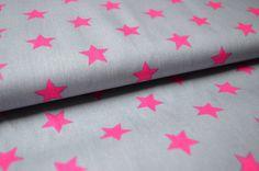 STENZO Baumwoll-Stoff- Sterne Grau / Pink von NaniluDIY auf DaWanda.com