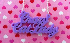 Lilac Purple CRAZY CAT LADY Necklace