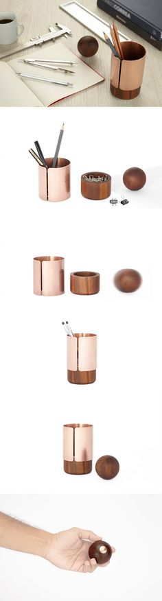 Ditch the cheap industrial office supplies for Deniable Studio's collection of stationary designed to flatter your desk top with a refined material combinations of wood and copper in minimalist style. #Desk #Organiser #Office #YankoDesign