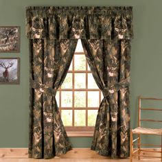 Browning Camo Window Treatments Valance And Lined Curtains Drapes With Whitetail Deer Intertwined