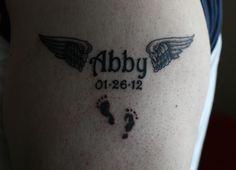 Kid Name Tattoo. Minus the angel wings  :(