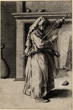 Gathered up apron and skirt Enea Vico (1523 - 1567), printmaker After Parmigianino (1503 - 1540), designer Object name:print An old woman standing, in profile towards...