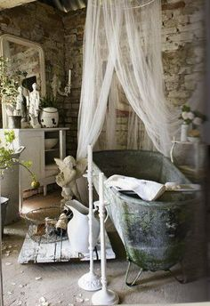 Metal tub, tulle netting, mirror, brick wall, dresser, candle sticks, serving tray, water pitcher - white, washed, brick