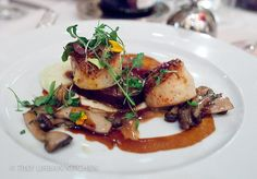 Pan Roasted Diver Scallop braised short ribs, carrot emulsion, black trumpet mushroom