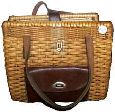 Leather and Bamboo Strip handbag