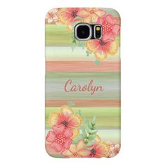 Custom Coral Red Lime Green Watercolor Floral Samsung Galaxy S6 Case - cool gift idea unique present special diy
