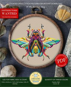This is modern cross-stitch pattern of Mandala Bug for instant download. You will get 7-pages PDF file, which includes: - main picture for your reference; - colorful scheme for cross-stitch; - list of DMC thread colors (instruction and key section); - list of calculated thread