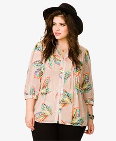 Leaf Pintucked Pleated Shirt   FOREVER21 PLUS - 2027315487
