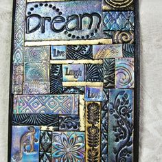 Mosaic Art Tile Polymer Clay Found Objects Sea By