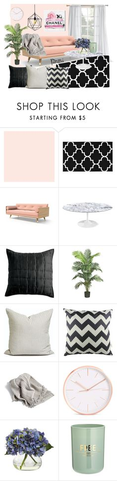 Pink, grey & black by patrizzia on Polyvore featuring interior, interiors, interior design, hogar, home decor, interior decorating, Design Within Reach, Garland Rug, DKNY and Nearly Natural