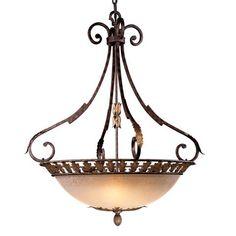 Zaragoza™ Collection - Five Light Bowl Pendant - Five Light Bowl Pendant in Golden Bronze Finish w/Wrought Iron Frame and Salon Scavo™ Glass