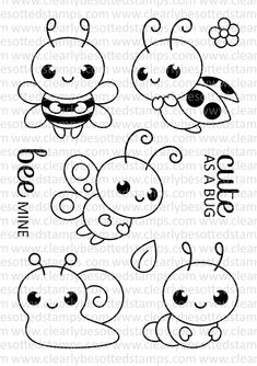 High quality photopolymer stamps manufactured in the UK Cute Monsters Drawings, Art Drawings For Kids, Easy Drawings, Felt Patterns, Embroidery Patterns, Quiet Book Templates, Fairy Tattoo Designs, Bug Crafts, Kawaii Doodles