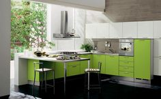 Kitchen Room, Kitchen Refreshing Design With Green Cabinet And White Wall Freshness Room With Some Tree In Fornt Of The Kitchen Room Arrange Your Kitchen Layout Looks So Wonderful And Interesting View Amazing ~ Some information about how to layout a kitchen that looks beauty and elegant