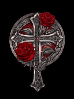 Art by Gothic Rose Tribal Cross Tattoos, Cross Tattoo For Men, Cross Tattoo Designs, Geometric Tattoo Arm, Tattoo Design Drawings, Cross Wallpaper, Gothic Wallpaper, Skull Wallpaper, Black Aesthetic Wallpaper