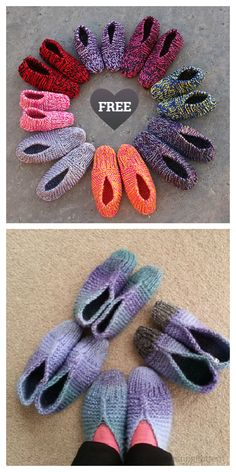 Easy Old Fashioned Slippers Free Knitting Patterns - Knitting Pattern Beginner Knitting Patterns, Knitting Machine Patterns, Christmas Knitting Patterns, Easy Crochet Patterns, Free Knitting, Knitting Projects, Knit Slippers Free Pattern, Crochet Slipper Pattern, Crochet Slippers