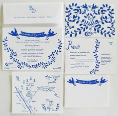 blue-white-invitation-suite - Once Wed Carton Invitation, Invitation Paper, Invitation Design, Party Invitations, Invitation Suite, Invites, Wedding Paper, Wedding Cards, Wedding Programs