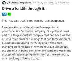 Maybe they shouldn't have taken their boss so literally. #forklift #fail #lol #disaster #story Funny Stories, Boss