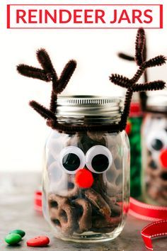 Four easy and creative mason jar CHRISTMAS treat gift ideas. A grinch jar, santa jar, reindeer jar, and snowman jar! Via chelseasmessyapron.com