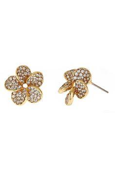 "Rhinestone-filled, the Flora Earrings are a feminine statement. Stud earrings. Surgical steel posts.    Measures: 3/4"" diameter   Flora Earrings by Fornash. Accessories - Jewelry - Earrings Virginia"