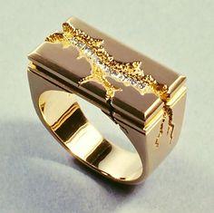 Kim Eric Lilot- Seismic Architectural ring, 14kt gold, diamonds.