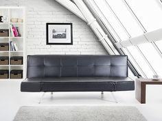 Slaapbank - Bedbank – Leren bank – Leren sofa in zwart - BRISTOL Koop zonder risico op rekening met 100 dagen herroepingsrecht