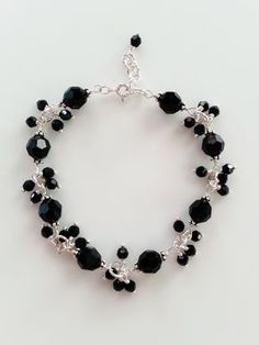 Black Crystal and Sterling Silver Bracelet