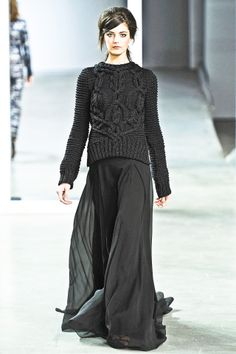 Derek Lam. Love the mixed fashion messages - fun to wear to a fancy party. Cozy paired with Classy, like flannel PJamas and black lace top....