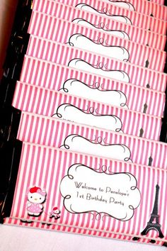 Party Favors at a Hello Kitty in Paris Party #hellokitty #partyfavors