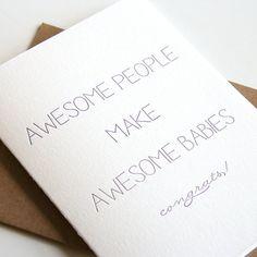 Letterpress Baby Congratulations Card  Awesome by SteelPetalPress