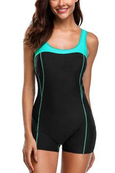 Womens Boyleg One Piece Swimsuit Athletic Swimwear Training Bathing Suit -  Black Aqua - CQ189CELMG9 c88663ef8