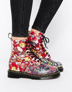 Dr Martens botas con 8 ojales y diseño floral multicolor Pascal