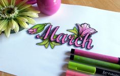 Free coloring page of March. Pretty floral and greenery coloring page of the month March. Shown here in pink and green with Faber Castell and Koi brushtip markers