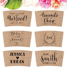 Wedding Coffee Sleeves Stamp | Coffee Wedding Sleeve | Brunch Coffee Favor | Personalized Coffee Stamp | Bridal Tea Party Favor #wedding #coffee