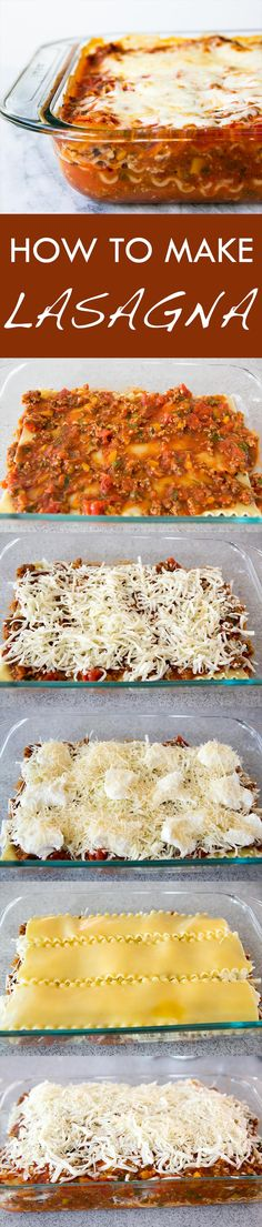 Great lasagna for feeding a family! Homemade ground beef sauce, thick lasagna noodles, and lots of Mozzarella, Ricotta, and Parmesan
