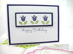 Simple Stampin' Up! card made by Dawn Olchefske....it uses the new stamp set Bright Blossoms and the diagonal scoring plate.