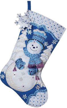 Snowflake Snowman Christmas Stocking Felt Applique Kit