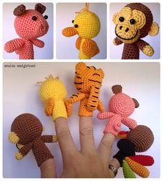 Títeres de dedo animal Amigurumi patrón por MucauAmigurumi en Etsy