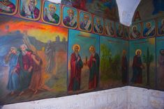 A medieval Monastery located in the valley of the Cross. Here, according to tradition, grew the tree of the Cross. Chariots Of Fire, Birth Of Jesus, Holy Cross, The Monks, 11th Century, Byzantine, Pilgrim, Fresco, Jesus Christ