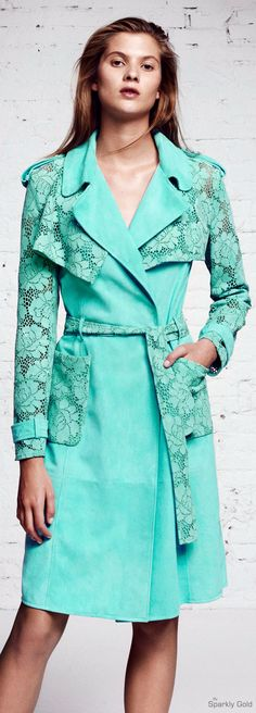 Blumarine Resort 2016 turquoise lace coat jacket women fashion outfit clothing style apparel @roressclothes closet ideas