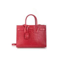 SAINT LAURENT Croco Effect Baby 'Sac De Jour' Tote ($2,490) ❤ liked on Polyvore featuring bags, handbags, tote bags, red, leather tote, red leather tote bag, red tote bag, red leather tote and red leather handbags