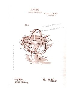 This is a Patent Print for a Ship's Gyroscope. Sperry and it was issued on August 1915 by the United States Patent and Trademark Office. Nikola Tesla Patents, Patent Prints, Sperrys, Inventions, Poster Prints, Boat, Ship, Physics, Tattoos