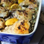 Greek Baked Chicken Thighs. And potatoes. All in one casserole dish. Simple and so, so good with Greek spices, lemon, garlic and fresh herbs.