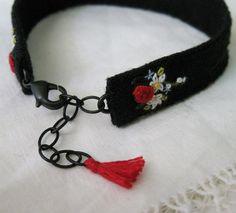 Floral Embroidered Cuff Bracelet textile fiber art от Sidereal