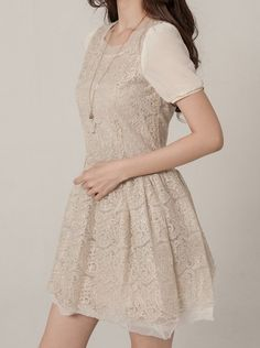 d562bdb44ff6 Sweet Style Slim OL Embroidery Lace Splice Short Sleeve Casual Dress. Korean  Clothes