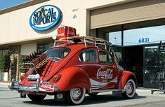 Coca-Cola branded VW Beetle, packed up and ready to go...